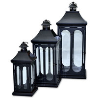 metal lantern with black antique finish/ candle holder glass black lantern manufacture