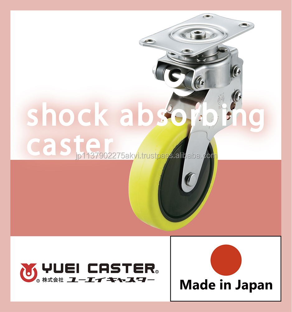 Durable 4inch shock absorbing caster with multiple functions made in Japan