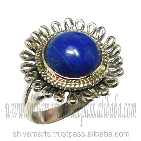Bulk Buy from India silver jewelry 925 sterling silver lapis gemstone ring