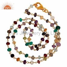 Supplier Of Beaded Gemstone Silver Necklace with Gold Vermeil Jewelry Manufacturer