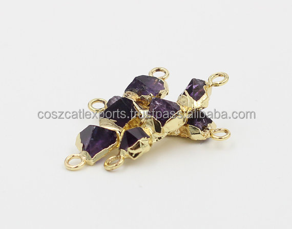 Point Head Raw Amethyst Connectors Cuff Electroplated Gold Edge Charms Wholesale Rough Gemstone