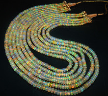 Natural ethiopian Opal welo rainbow Fire Beads 6 strand Necklace