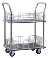 HL-120M Two-Tier Double Handles with Zinc Plated Mesh Panels Steel Platform Trolley (max Load 220 kg)