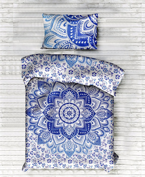 Doona Cover Bedding Twin Quilt Cover Indian Ombre Mandala Blue Duvet Cover Comforter Set