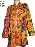 Indian Hand stitched vintage kantha ethnic jacket reversible winter coat for women