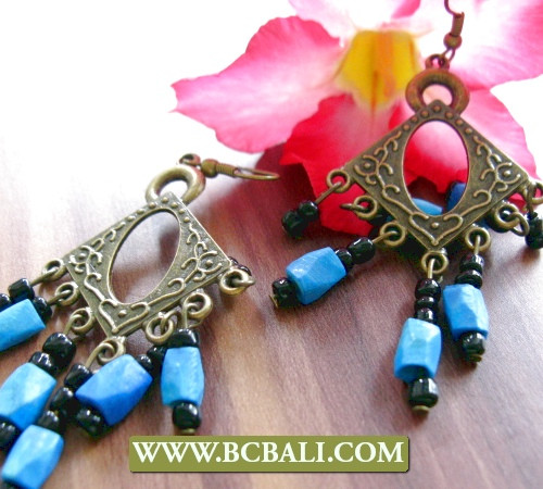 bronze beads stone earrings chandelier fashion