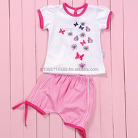 2 PCS. SET BUTTERFLY DESIGN BABY DRESS WITH SHORT, QUALITY BABY CLOTHING, BABY CLOTHES FOR GIRLS