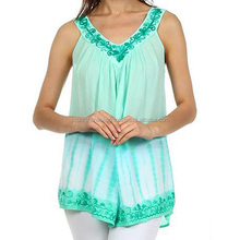 Shop Exclusive Resortwear Rayon Tie Dye Embroidered Tops & Tunic Online