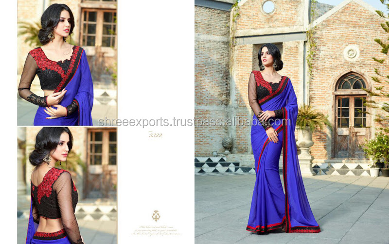 Bountiful Blue Chiffon Designer Saree/saree border embroidery designs/wholesale saree