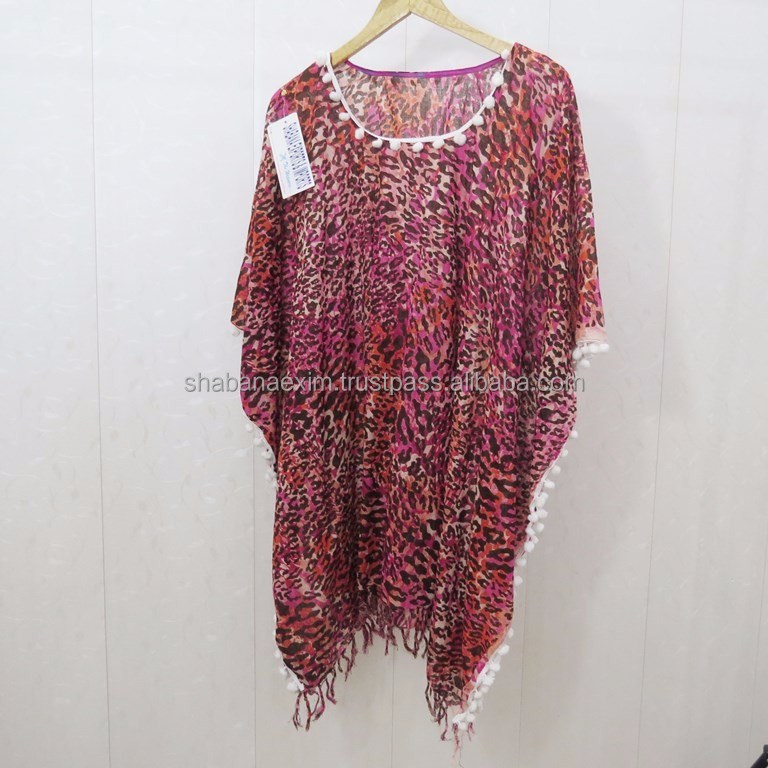 Latest Design Poncho Printed Tunics Kaftan Cover Up