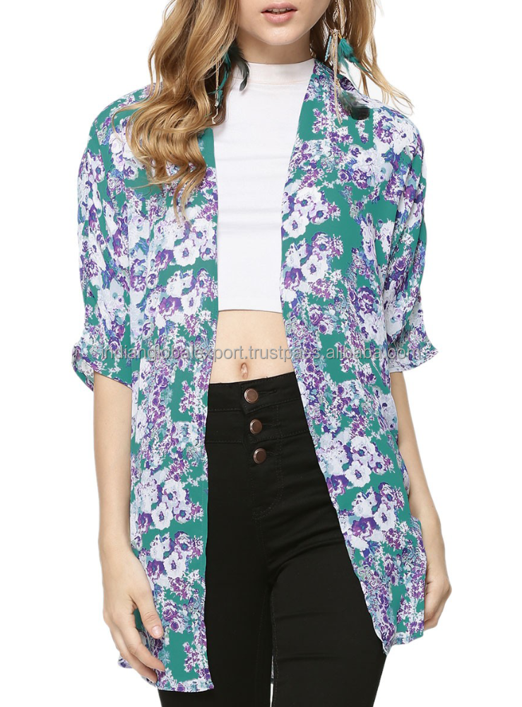 Beautiful Green Printed Kimono Jacket for women