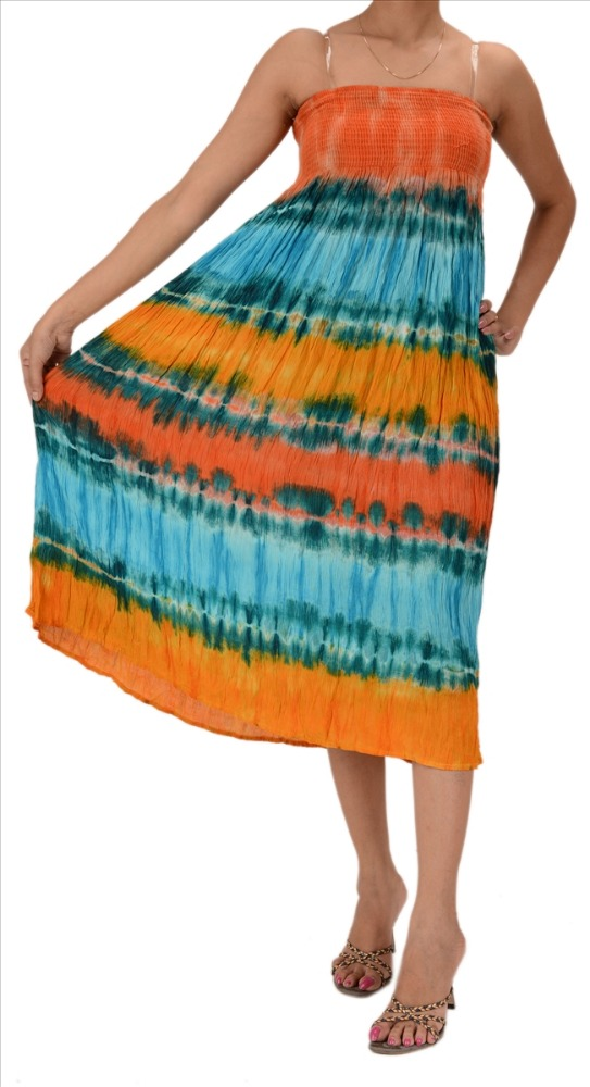 Skirts & Scarves Women's Rayon Tie-Dye Mid Length Dress/Skirt