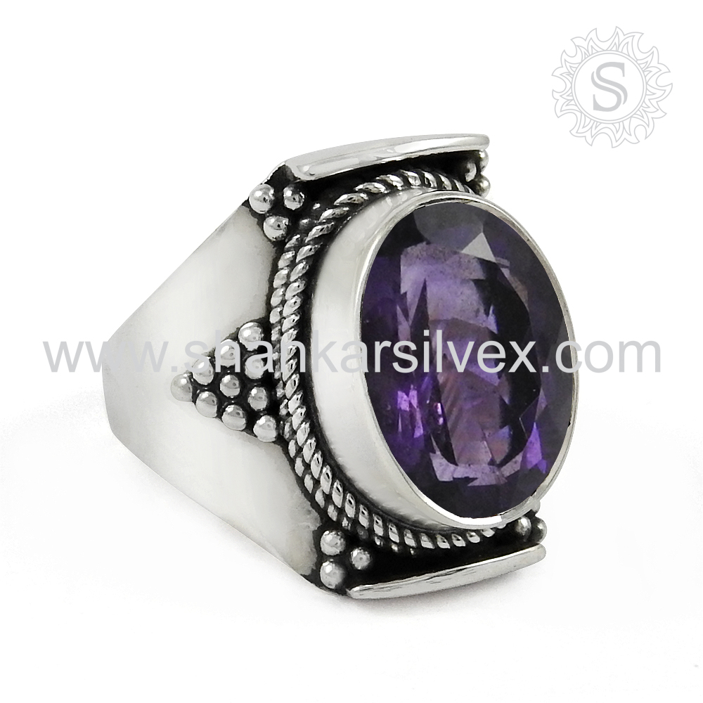 Prominent Purple Gemstone Silver 925 Ring Handmade Silver Jewelry Wholesaler Silver Jewelry