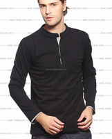 manufacturer o neck Long sleeve slim fit 100% cotton high quality blank blue mens pima cotton t