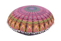 "Indian Mandala Floor Pillow with Insert Bohemian Round Cushion Covers 32"" Poufs"