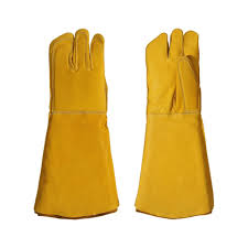 Leather animal care gloves