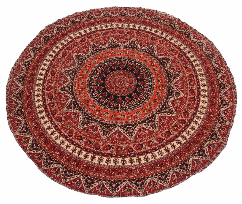 Small Round Star Shape Mandala Tapestry 100% Cotton Outdoor Beach Roundie Hippie Gypsy Boho Throw Towel Tablecloth Hanging 48""