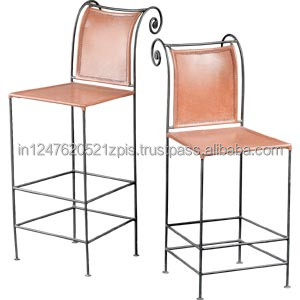 Traditional Leather and Iron Bar counter stool