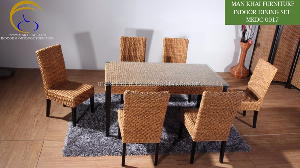 Wicker Rattan Dining Table Set - Interior Solid Wood Dining table and chair- dining set wooden home indoor furniture