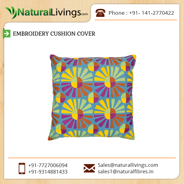 Cotton Cushion Cover with Beautiful Embroidery Design Available at Wholesale Rate