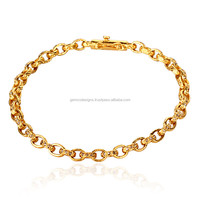 Pave Diamond 18k Solid Yellow Gold Handmade Chain & Link Bracelet Jewelry