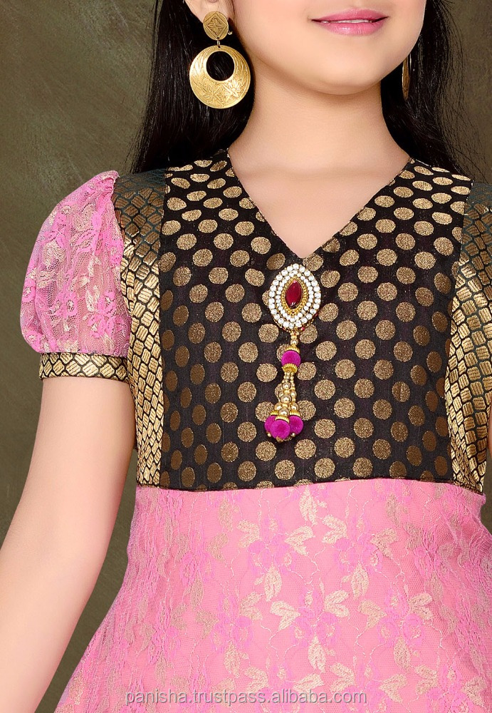 Pink Net Brasso and Brocade Readymade Churidar Kameez