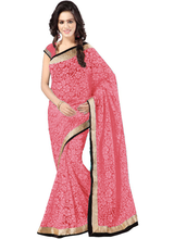 New Latest Peach Brasso Net Lace Designer Saree With Blouse