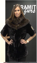 Mink Fur Jacket, Black color with Sable fur collar