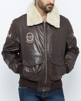 High Quality Dark Brown Italian Lamb Leather Bomber jacket with Removable Fur Collar
