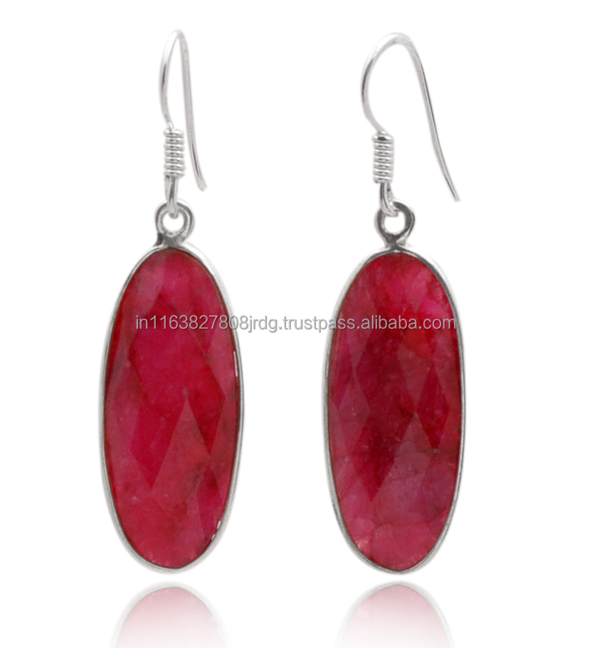 Indian Designer Jewelry Ruby 925 Sterling Silver Earring