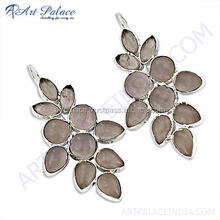 New Arrival Cheap Goods from India 925 Sterling Silver Earrings With Rose Quartz Gemstone