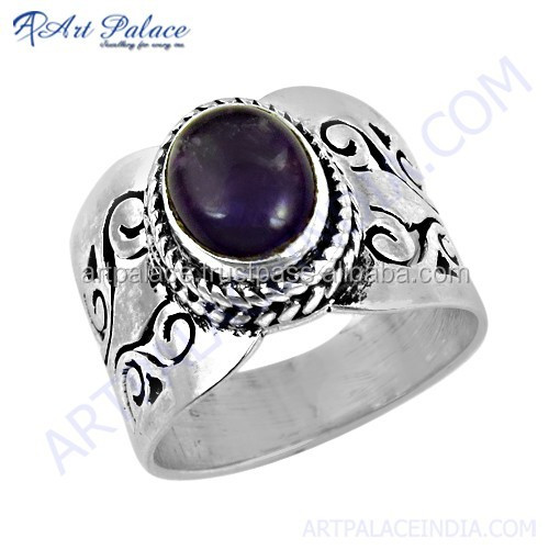 Handcrafted Wholesale Indian jewelry amethyst gemstone 925 silver ring for women's