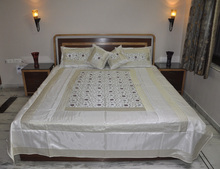 Lovely Indian Handmade Brocade Silk Bedspread with Pillow & Cushion Cover