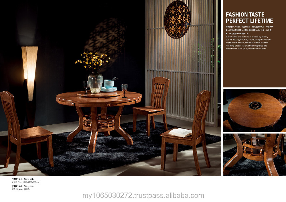 Round solid wood dining set,dining room furniture with high quality