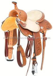 horse leather western barrel saddle
