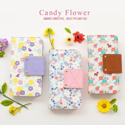 Flower pattern wallet cover for cell phone beautiful mobile phone back cover cute mobile phone cover