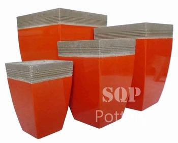 High Curved Square Cement pot in red painted