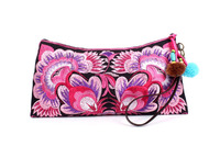 Sublime Clutch With A Pink Flower Embroidered Pattern, Adorned With Multi Poly Pompom