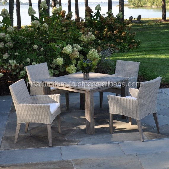 Weathered gray Garden teak dining table Table and Chairs rattan wicker outdoor furniture