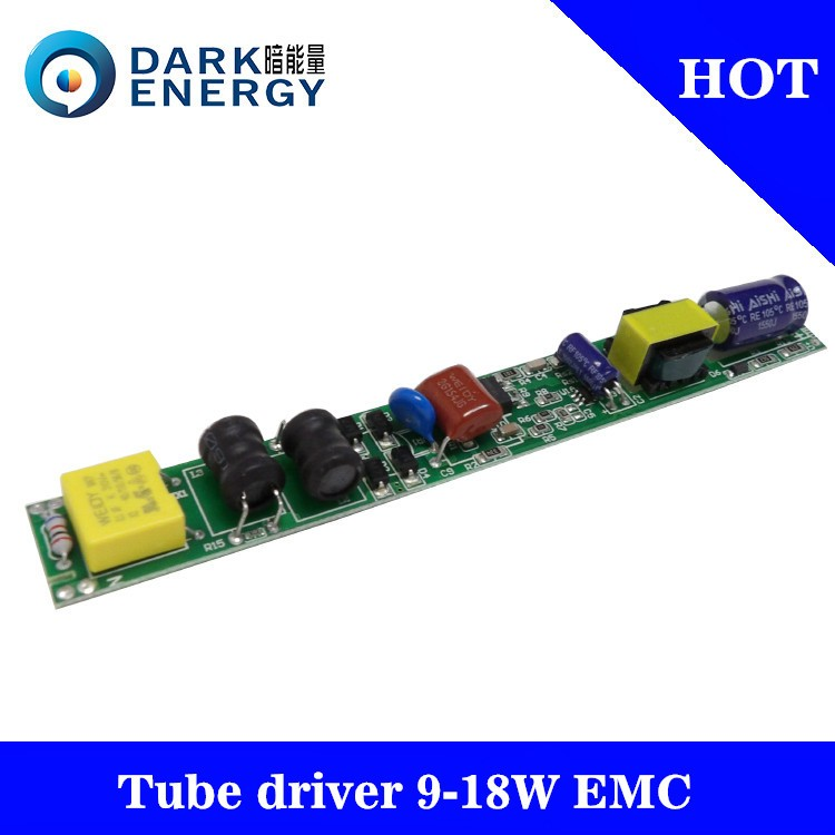 t8 tube9 driver elongated 18w high pf 0.9 EMC passed led driver brand of dark energy