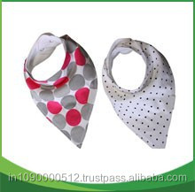 custom 100% Organic cotton Baby bandana drool bib with adjustable snaps