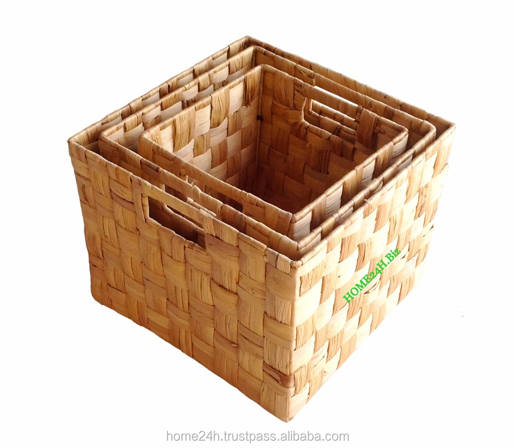 Handmade New product Vietnam crafts Water Hyacinth gourmet basket, wicker rattan Basket for Gift Vietnam crafts