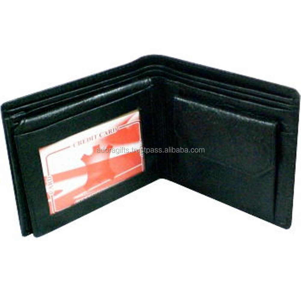 Good Quality of Black Leather Mens Wallets / personalized mens wallets / thin wallets for men