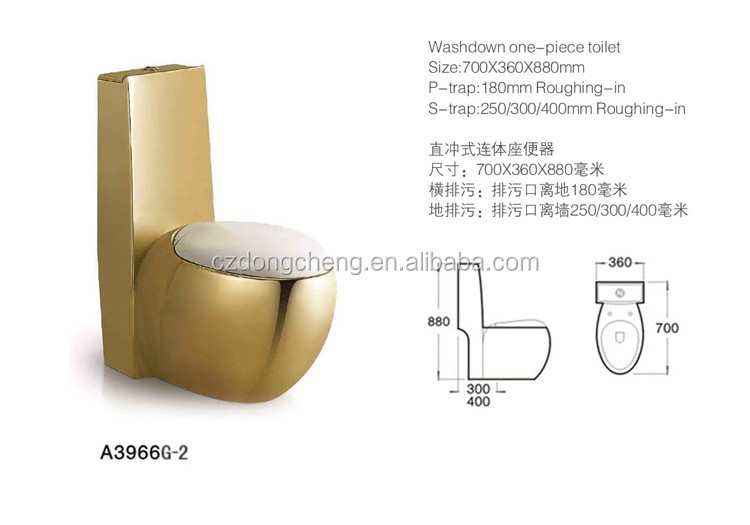 Chaozhou One Piece Ceramic toilet bowl gold color