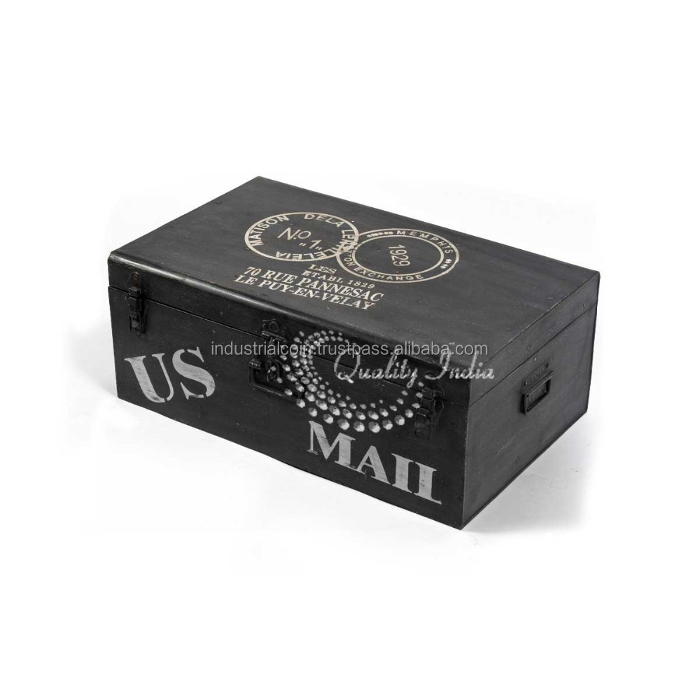 US Mail Black Color Metallic Storage Trunk Box