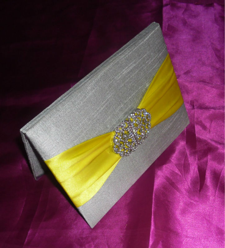 wedding invitation Silk card folio with ribbon Rhinestone Brooch pocket inserts ptint