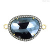 14 k gold pave diamond Black Spinel Findings 925 Sterling Silver Findings Connector Gemstone Findings Jewelry Wholesaler