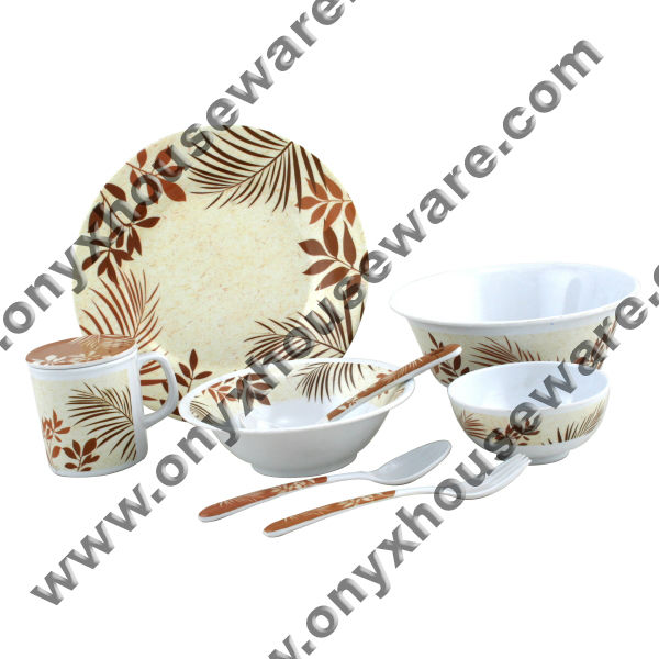 Palm Spring Dinnerware - High Quality, 100% Food Grade ONYX Melamine Dinnerware/ Tableware/ Dishes (Plates/ Bowls/ Cups)