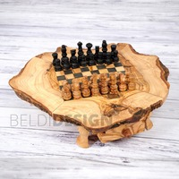 Handcrafted Olive Wood Natural Rustic Wooden Chess Board In Black by Artisans in Tunisia