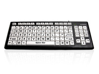 Accuratus Monster 2 - USB High Contrast Vision Impairment Keyboard with Extra Large Keys & 2 Port USB Hub